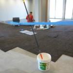 carpet laid in narthex compressed