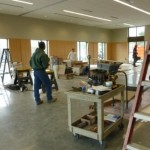 Wood paneling being installed in new Parish Hall