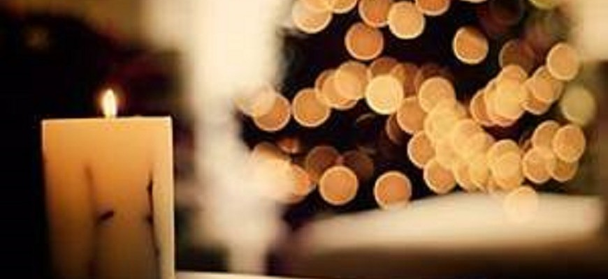 Christmas candle and lights for web slider