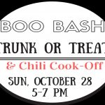 Boo Bash, Trunk or Treat, and Chili Cook-Off on October 28!